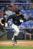 Akron RubberDucks designated hitter Tyler Krieger (15) runs to first base during a game against the Binghamton Rumble Ponies on May 12, 2017 at NYSEG Stadium in Binghamton, New York.  Akron defeated Binghamton 5-1.  (Mike Janes/Four Seam Images)