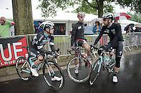 chatting before the start: Gianni Meersman (BEL/OmegaPharma-Quickstep), Bart De Clercq (BEL/Lotto-Belisol) &amp; Thomas De Gendt (BEL/OmegaPharma-Quickstep)<br /> <br /> Belgian Championships 2014 - Wielsbeke<br /> Elite Men