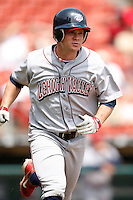 May 28, 2009:  Lehigh Valley IronPigs Right Fielder Jeremy Slayden hustles down the line on a hit during a game vs. the Buffalo Bisons at Coca-Cola Field in Buffalo, NY.  The IronPigs are the International League Triple-A affiliate of the Philadelphia Phillies.  Photo by:  Mike Janes/Four Seam Images