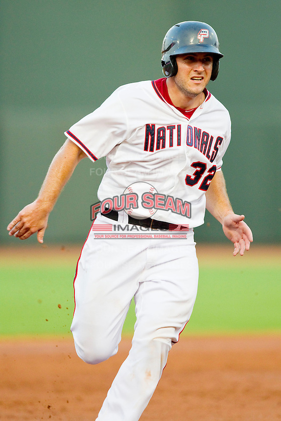 Carolina League All-Star David Freitas #32 of the Potomac Nationals hustles towards third base against the California League All-Stars during the 2012 California-Carolina League All-Star Game at BB&T Ballpark on June 19, 2012 in Winston-Salem, North Carolina.  The Carolina League defeated the California League 9-1.  (Brian Westerholt/Four Seam Images)