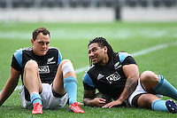 All Black's Israel Dagg and Ma'a Nonu at the captains run prior to the Rugby Championship, Bledisloe Cup test match between New Zealand and Australia, Forsyth Barr Stadium, Dunedin, New Zealand, Friday, October 18, 2013. Photo: Dianne Manson / photosport.co.nz