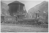 Engineer's side view of RGS 2-8-0 #40 in Rico yard.<br /> RGS  Rico, CO  Taken by Barriger, John W. III - 9/14/1935