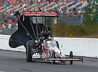 Mar 14, 2015; Gainesville, FL, USA; NHRA top fuel driver Steve Torrence during qualifying for the Gatornationals at Auto Plus Raceway at Gainesville. Mandatory Credit: Mark J. Rebilas-