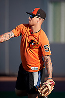 Aberdeen IronBirds pitcher J.J. Montgomery (52) warms up before a game against the Staten Island Yankees on August 23, 2018 at Leidos Field at Ripken Stadium in Aberdeen, Maryland.  Aberdeen defeated Staten Island 6-2.  (Mike Janes/Four Seam Images)