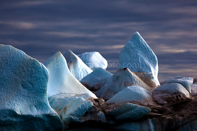 Iceberg: ice formations on an iceberg, Kane Basin, Northwest Greenland. Seen from the deck of the Greenpeace ship Arctic Sunrise during an expedition to examine the effects of climate change in the Arctic.<br />