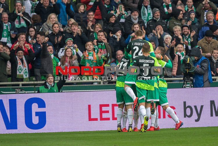 10.02.2019, Weser Stadion, Bremen, GER, 1.FBL, Werder Bremen vs FC Augsburg, <br /> <br /> DFL REGULATIONS PROHIBIT ANY USE OF PHOTOGRAPHS AS IMAGE SEQUENCES AND/OR QUASI-VIDEO.<br /> <br />  im Bild<br /> <br /> jubel 3:0 Milot Rashica (Werder Bremen #11) mit Maximilian Eggestein (Werder Bremen #35)<br /> Max Kruse (Werder Bremen #10)<br /> Davy Klaassen (Werder Bremen #30)<br /> <br /> <br /> Foto &copy; nordphoto / Kokenge