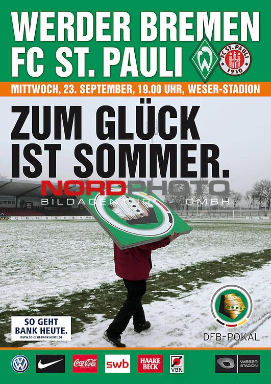 FBL 0910 - Werder Bremen<br /> Ankuendigungsplakat DFB Pokal Bremen - Pauli 23.09.2009<br /> <br /> <br /> <br /> Foto &copy; nph ( nordphoto )
