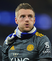 Leicester City's Jamie Vardy looks emotional as he joins his team-mates in thanking fans for their support<br /> <br /> Photographer Kevin Barnes/CameraSport<br /> <br /> The Premier League -  Cardiff City v Leicester City - Saturday 3rd November 2018 - Cardiff City Stadium - Cardiff<br /> <br /> World Copyright © 2018 CameraSport. All rights reserved. 43 Linden Ave. Countesthorpe. Leicester. England. LE8 5PG - Tel: +44 (0) 116 277 4147 - admin@camerasport.com - www.camerasport.com