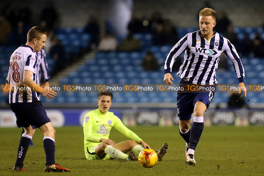 Byron Webster of Millwall races upfield during Millwall vs Peterborough United, Sky Bet EFL League 1 Football at The Den on 28th February 2017
