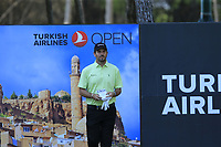 Thomas Aiken (RSA) on the 18th tee during Sunday's Final Round of the 2018 Turkish Airlines Open hosted by Regnum Carya Golf &amp; Spa Resort, Antalya, Turkey. 4th November 2018.<br /> Picture: Eoin Clarke | Golffile<br /> <br /> <br /> All photos usage must carry mandatory copyright credit (&copy; Golffile | Eoin Clarke)