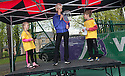 Judy Murray takes part in a Question and Answer Sessions as she joins kids, coaches and adults to launch Free Tennis Lessons at Zetland Park.