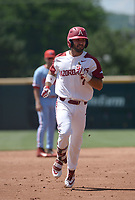 NWA Democrat-Gazette/ANDY SHUPE<br /> Arkansas second baseman Jack Kinley rounds the bases Saturday, June 8, 2019, after hitting a 3-run home run during the first inning in the NCAA Super Regional game at Baum-Walker Stadium in Fayetteville. Visit nwadg.com/photos to see more photographs from the game.