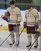 Steven Santini (BC - 6), Michael Matheson (BC - 5) - The Boston College Eagles defeated the University of Denver Pioneers 6-2 in their NCAA Northeast Regional semi-final on Saturday, March 29, 2014, at the DCU Center in Worcester, Massachusetts.