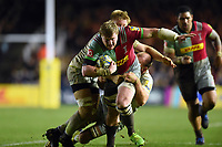 Renaldo Bothma of Harlequins takes on the Saracens defence. Aviva Premiership match, between Harlequins and Saracens on December 3, 2017 at the Twickenham Stoop in London, England. Photo by: Patrick Khachfe / JMP