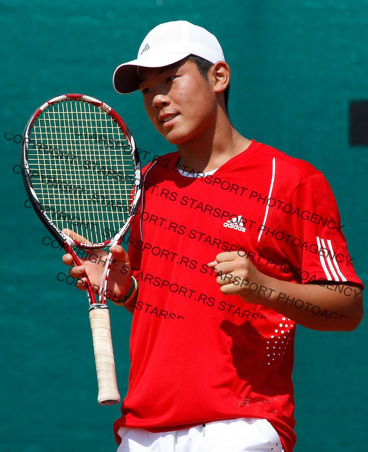 Tennis, world championship, U-14.Korea Vs. France.Jae-Hwan Kim (KOR)-Laurent Lokoli (FRA).Jae-Hwan Kim.Prostejov, 08.06.2008..Photo: Srdjan Stevanovic.