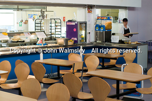 State secondary school.  Empty school canteen..