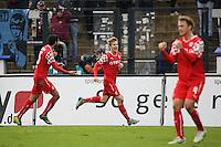 Ben Halloran hat das 0:1 für Düsseldorf erzielt und jubelt - FSV Frankfurt vs. Fortuna Düsseldorf, Frankfurter Volksbank Stadion
