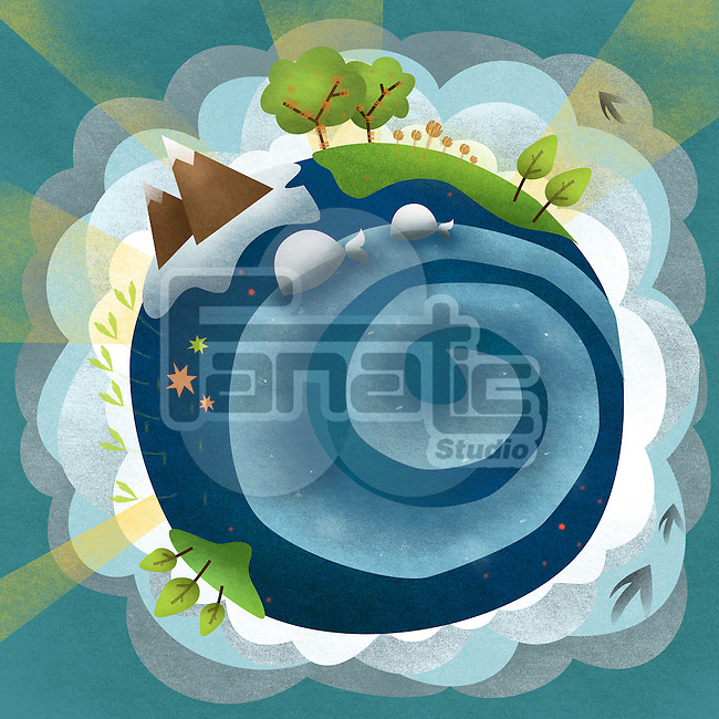 Illustrative image of earth representing beauty in nature against green background