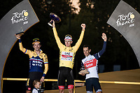 Paris Closing Ceremony:<br /> Tadej Pogačar (SVN/UAE-Emirates) wins the 2020 Tour de France + the polka dot jersey as the best climber + the white jersey as best young rider... <br /> Primoz Roglic (SVN/Jumbo-Visma) finishes 2nd overall & Richie Porte (AUS/Trek-Segafredo) 3rd.<br /> <br /> Stage 21 from Mantes-la-Jolie to Paris (122km)<br /> <br /> 107th Tour de France 2020 (2.UWT)<br /> (the 'postponed edition' held in september)<br /> <br /> ©kramon