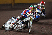 Heat 9: Tomasz Jedrzejak (green) and Chris Harris (red) - Coventry Bees vs Lakeside Hammers - Craven Shield Final 2nd Leg at Brandon, Coventry - 24/10/08 - MANDATORY CREDIT: Rob Newell/TGSPHOTO