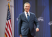 Nigel Farage, who successfully advocated for Great Britain to separate from the European Union, speaks at the Conservative Political Action Conference (CPAC) at the Gaylord National Resort and Convention Center in National Harbor, Maryland on Friday, February 23, 2018.<br /> Credit: Ron Sachs / CNP