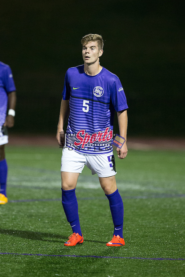 Johnny Fenwick (5) of the High Point Panthers during second half action against the Virginia Tech Hokies at Vert Track, Soccer & Lacrosse Stadium on October 13, 2015 in High Point, North Carolina.  The Panthers defeated the Hokies 2-1 in overtime.  (Brian Westerholt/Sports On Film)