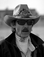 Richard Petty cowboy hat longcoat Atlanta Journal 500 at Atlanta International Raceway in Hampton , GA on November 19, 1989.  (Photo by Brian Cleary/www.bcpix.com)