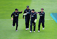 Tom Latham is congratulated by teammates after catching Shadab Khan during the One Day International cricket match between the NZ Black Caps and Pakistan at the Basin Reserve in Wellington, New Zealand on Saturday, 6 January 2018. Photo: Dave Lintott / lintottphoto.co.nz