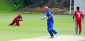ICC World T20 Qualifier - GROUP B MATCH - Afghanistan v Oman at Heriots CC, Edinburgh - Afghanistan's Mirwais Ashraf is caught by Oman's Zeeshan Ahmed for the eighth wicket — credit @ICC/Donald MacLeod - 15.07.15 - 07702 319 738 -clanmacleod@btinternet.com - www.donald-macleod.com