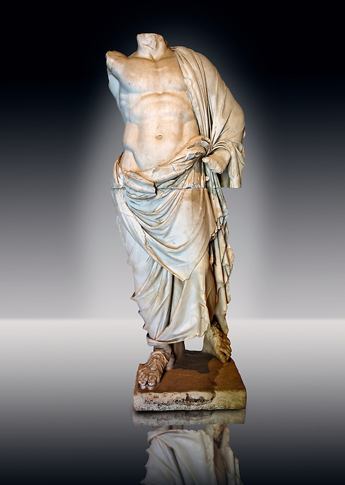 Greek statue of a male figure, 2nd cent B.C Greek Hellenistic period, from Pergamon ( Bergama ) , Turkey. Istanbul Archaeological museum Inv 2707 T.