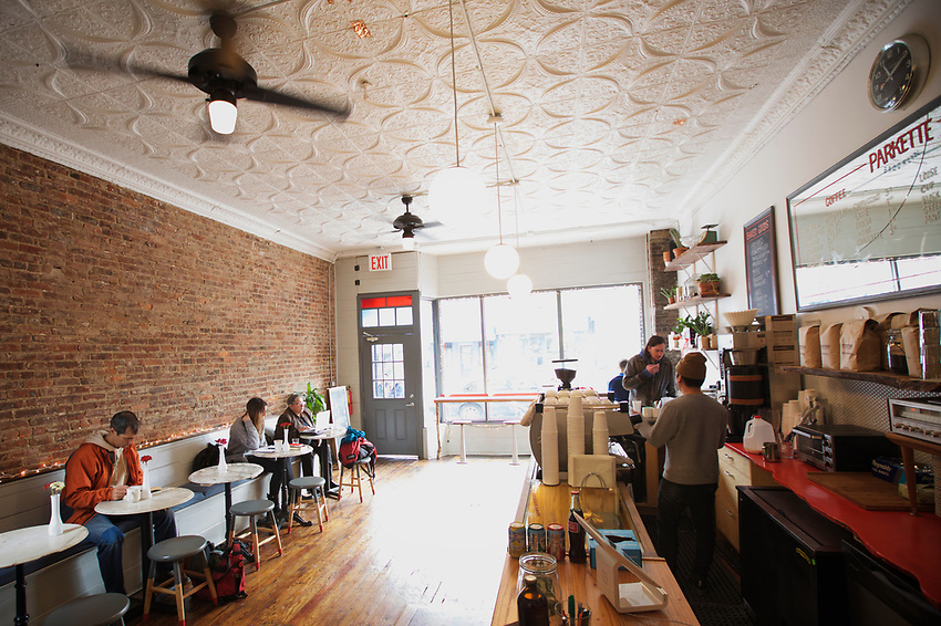 BROOKLYN, NY - JANUARY 15, 2016:  Parkette, the new and modern coffee shop in Sunset Park is seen as some to be a sign of gentrification. <br /> LOCATION: 5th Avenue between 40th and 41st Streets. <br /> CREDIT: Clay Williams for the New York Times.<br /> <br /> &copy; Clay Williams / claywilliamsphoto.com