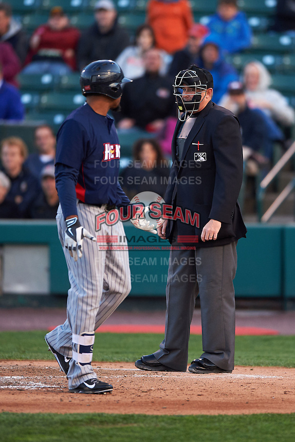 Toledo Mudhens outfielder Daniel Fields (29) argues a strike three call with umpire Chad Whitson during a game against the Rochester Red Wings on May 12, 2015 at Frontier Field in Rochester, New York.  Toledo defeated Rochester 8-0.  (Mike Janes/Four Seam Images)
