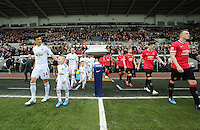 SWANSEA, WALES - FEBRUARY 21: Jack Cork of Swansea comes out of the tunnel prior to the Barclays Premier League match between Swansea City and Manchester United at Liberty Stadium on February 21, 2015 in Swansea, Wales.