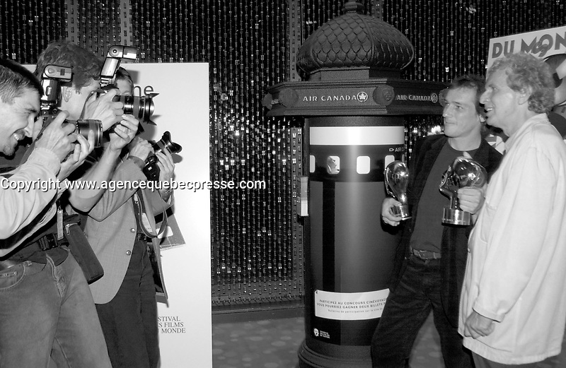 September 7,  2003, Montreal, Quebec, Canada<br /> <br /> Louis Belanger (L) and Serge THeriault (R) pose for photographers after  GAZ BAR BLUES, the new film by Montreal director Louis B&Egrave;langer <br />  Belanger receive the Special Grand Prize of the Jury and also the OECUMNICAL AWARD for his movie, based on his father's life and values.<br /> <br /> <br /> <br /> The Festival runs from August 27th to september 7th, 2003<br /> <br /> <br /> Mandatory Credit: Photo by Pierre Roussel- Images Distribution. (&copy;) Copyright 2003 by Pierre Roussel <br /> <br /> All Photos are on www.photoreflect.com, filed by date and events. For private and media sales