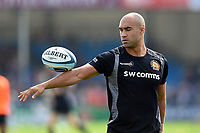 Olly Woodburn of Exeter Chiefs in action during the pre-match warm-up. Gallagher Premiership match, between Exeter Chiefs and Leicester Tigers on September 1, 2018 at Sandy Park in Exeter, England. Photo by: Patrick Khachfe / JMP
