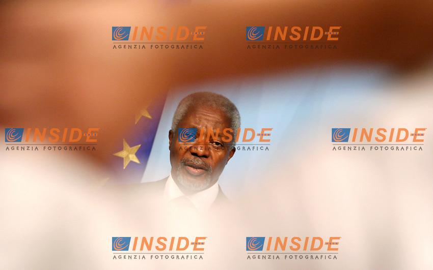 Roma 12-07-2006 Il Presidente del Consiglio Romano Prodi ha ricevuto, a Palazzo Chigi, il Segretario Generale dell'ONU Kofi Annan.<br /> Nella foto Kofi Annan  <br /> Photo Serena Cremaschi Insidefoto