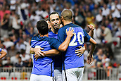 June 17th 2017; Allianz Riviera, Nice, France; Legends football international, France versus Italy;  youri Djorkaeff (France) - David Trezeget (France) - Ludovic Giuly celebrate their goal