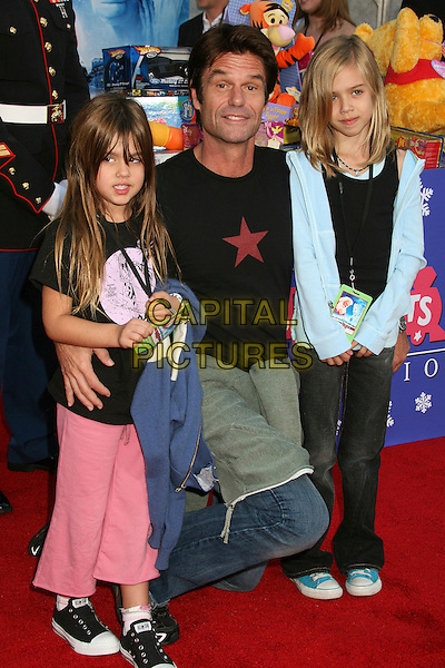 """HARRY HAMLIN, AMELIA & DELILAH (DAUGHTERS).Los Angeles Premiere of """"The Santa Clause 3: The Escape Clause"""" at the El Capitan Theatre, Hollywood, California, USA..October 29th, 2006.Ref: ADM/BP.full length kneeling father sisters siblings family.www.capitalpictures.com.sales@capitalpictures.com.©Byron Purvis/AdMedia/Capital Pictures."""