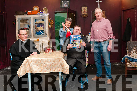 "Athea Drama Group: Members of Athea Drama group in rehearsal for their upcoming production of Martin McDonagh's play ""The Lonesome West"" whih will staged on th 7th, 9th, 10th, 14th, 16th & 17th February in the Con Colbert Centre. Athea. L-R : Michael O'Connor, Annette O'Donnell, John Sheahan & TOM Dienihan."
