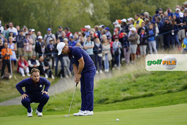 Tyrrell Hatton (Team Europe) and Paul Casey (Team Europe) on the on the 8th during the friday fourballs at the Ryder Cup, Le Golf National, Iles-de-France, France. 27/09/2018.<br /> Picture Fran Caffrey / Golffile.ie<br /> <br /> All photo usage must carry mandatory copyright credit (© Golffile | Fran Caffrey)