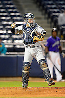 Trenton Thunder catcher J.R. Murphy #15 during a game against the Akron Aeros on April 22, 2013 at Canal Park in Akron, Ohio.  Trenton defeated Akron 13-8.  (Mike Janes/Four Seam Images)