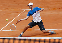 L'austriaco Dominic Thiem in azione nel corso degli Internazionali d'Italia di tennis a Roma, 12 maggio 2016.<br /> Austria's Dominic Thiem returns the ball to Switzerland's Roger Federer at the Italian Open tennis tournament in Rome, 12 May 2016.<br /> UPDATE IMAGES PRESS/Isabella Bonotto