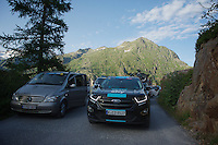 evacuation chaos keeps teams/riders and even yellow jersey Chris Froome stuck (inside the SKY team car) for hours on top of the mountain after the actual finish of the race <br /> <br /> stage 17: Bern (SUI) - Finhaut-Emosson (SUI) 184.5km<br /> 103rd Tour de France 2016
