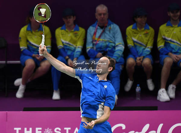 Martin CAMPBELL (SOC) in the mens doubles. Badminton. Mixed team event. XXI Commonwealth games. Carrara Sports hall 2. Gold Coast 2018. Queensland. Australia. 05/04/2018. ~ MANDATORY CREDIT Garry Bowden/SIPPA - NO UNAUTHORISED USE - +44 7837 394578