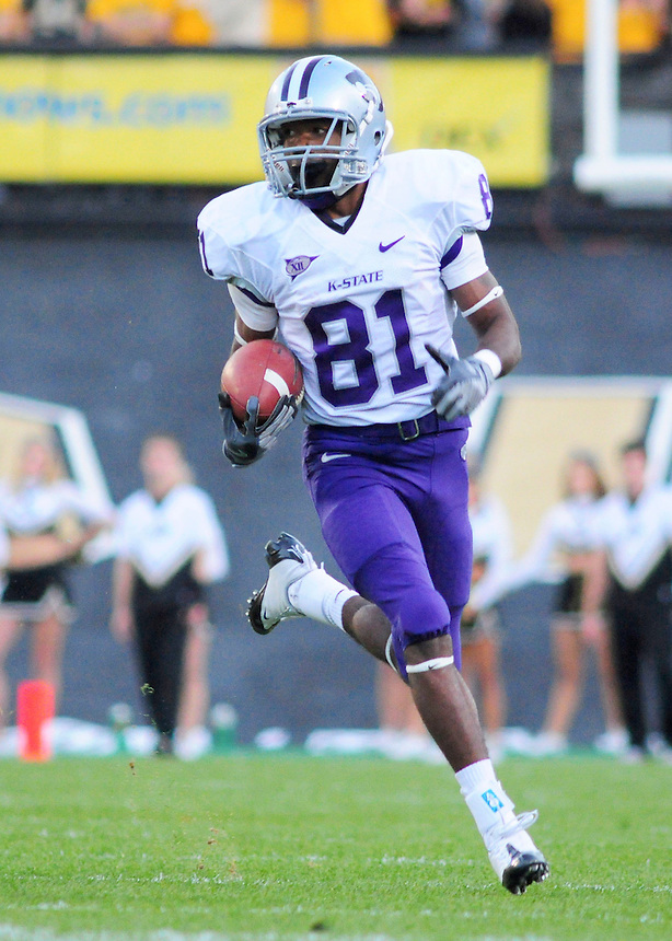 18 October 08: Kansas State wide receiver Attrail Snipes runs for yardage after a reception against Colorado. The Colorado Buffaloes defeated the Kansas State Wildcats 14-13 at Folsom Field in Boulder, Colorado.