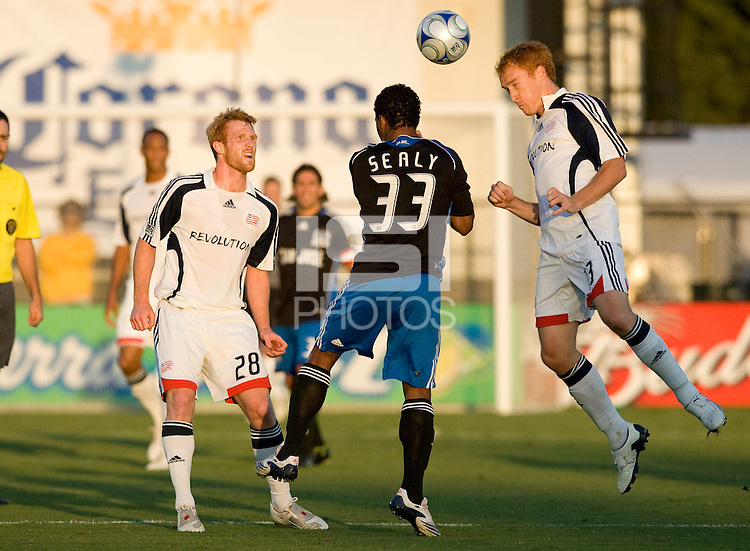 16 August 2008: Jeff Larentowicz of the Revolution fights for the ball against Scott Sealy of the Earthquakes during the game at Buck Shaw Stadium in Santa Clara, California.   San Jose Earthquakes defeated New England Revolution, 4-0.