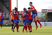 Chike Kandi of Dagenham and Redbridge scores the first goal for his team and celebrates during Dagenham & Redbridge vs Chesterfield, Vanarama National League Football at the Chigwell Construction Stadium on 15th September 2018