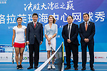 Steffi Graf of Germany (C), the global ambassador of Zhuhai WTA Elite Trophy 2017, and guests pose for photo during the Steffi Graff tennis show at Zhuhai Tower on November 04, 2017 in Zhuhai, China. Photo by Yu Chun Christopher Wong / Power Sport Images