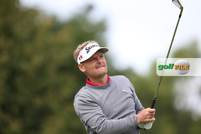 Soren Kjeldsen (DEN) keeps pace with Jamie Donaldson (WAL) during the Final Round of the D&D Real Czech Masters 2014 from the Albatross Golf Resort, Vysoky Ujezd, Prague. Picture:  David Lloyd / www.golffile.ie