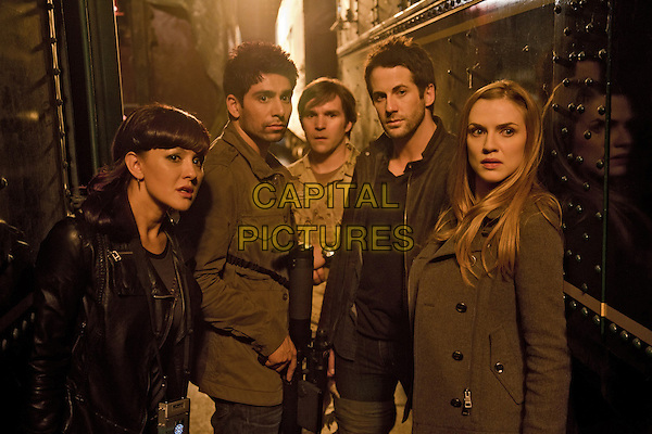 Crystal Lowe, Danny Rahim, Geoff Gustafson, Niall Matter, Sara Canning<br /> in Primeval: New World (2012) <br /> *Filmstill - Editorial Use Only*<br /> CAP/FB<br /> Image supplied by Capital Pictures